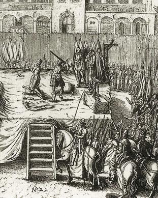 De onthoofding van Philips de Montmorency en Lamoraal van Egmont, kopergravure, 1619